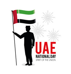 Soldier with uae flag to national day vector
