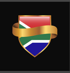 south africa flag golden badge design vector image