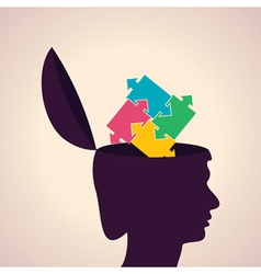 Thinking concept-Human head with puzzle pieces vector image