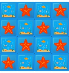tile pattern with sea and starfish vector image
