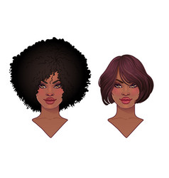 Two african american pretty girls vector