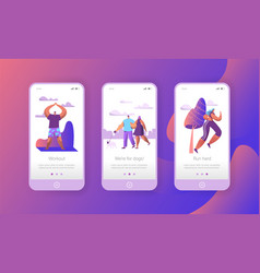 Urban weekend lifestyle in park mobile app page vector