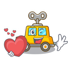 With heart cartoon clockwork toy car for gift vector