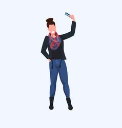 Woman taking selfie photo on smartphone camera vector