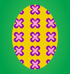 Yellow easter egg with flower pattern vector image