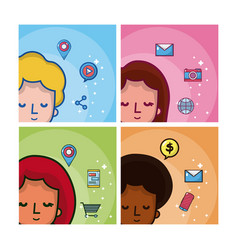young people and social media vector image