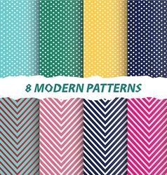 8 modern patterns background vector image
