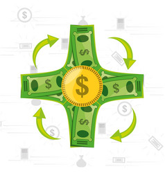 bills and coins concept over white background vector image
