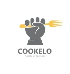 hand with fork logo design template vector image