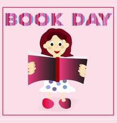 Little child cute girl is reading happy book day vector