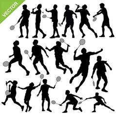 Men silhouettes play Badminton vector image vector image