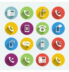 Phone handset flat icons vector image