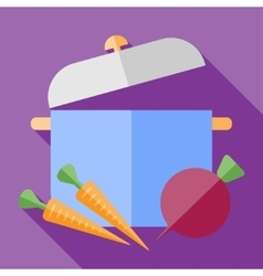 retro flat saucepan with vegetables icon vector image