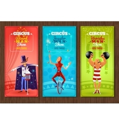 Travelling circus show flat banners set vector image vector image