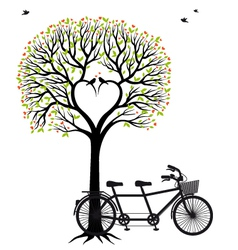 heart tree with birds and bicycle vector image