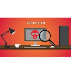 Scan computer virus with red skull and pc vector