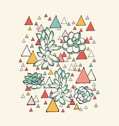 succulent and triangles pattern vector image