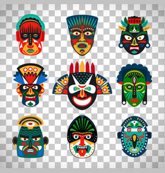 tribal indian or african colorful masks vector image vector image