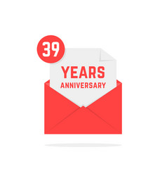 39 years anniversary icon in red open letter vector image vector image