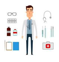 A doctor set of a man with medicine elements flat vector