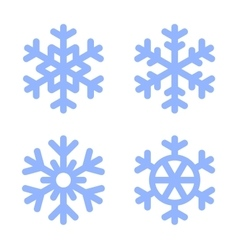 Blue Snowflake Icons Set on White Background vector image vector image