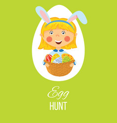 easter egg hunt card vector image