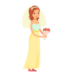happy bride isolated on white vector image