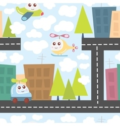 Kids pattern with city landscape cute helicopter vector image vector image