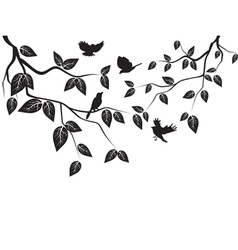 leaves and birds vector image