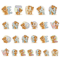 names for boys ethan andrew daniel william made vector image vector image