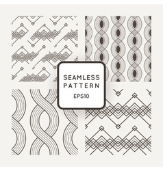 Set of seamless patterns with braids ropes vector image