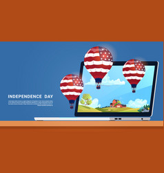 United states flag colored air balloons flying vector