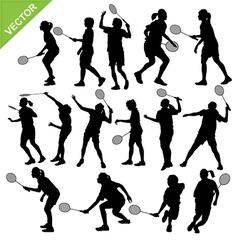 Women silhouettes play Badminton vector image vector image