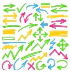Highlighter Arrows and Marking Design Elements vector image