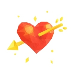 Polygonal heart love valentine vector image vector image
