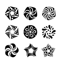 set of sun stars flowers shapes for logo design vector image vector image