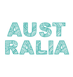 the inscription australia the font in ethnic vector image vector image