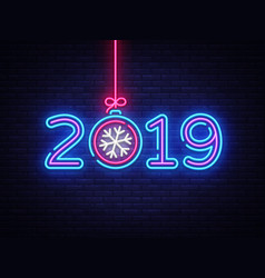 2019 happy new year neon text 2019 new year vector