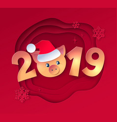 2019 numbers lettering with cute piggy face vector image