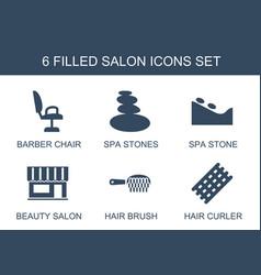 6 salon icons vector