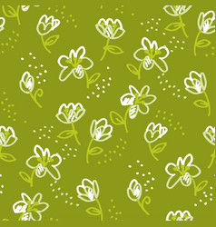 abstract flowers sketch seamless pattern vector image