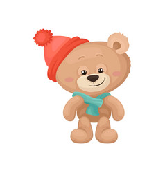adorable teddy bear with pink cheeks and shiny vector image