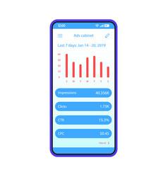 Advertising statistics app smartphone interface vector