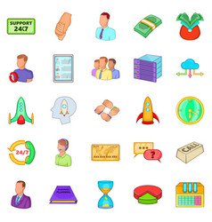aggregation icons set cartoon style vector image