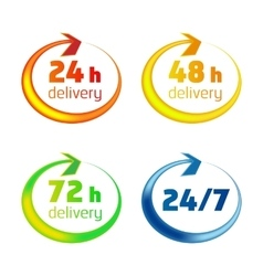 Around the clock delivery icons vector