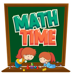 Background design with two kids learning math vector