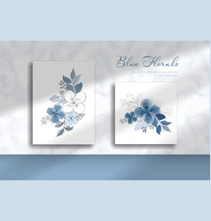 beautiful blue bouquet with watercolor style vector image