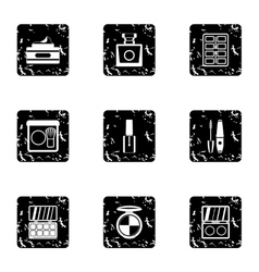 Beauty icons set grunge style vector