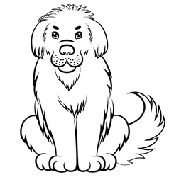 Big fluffy dog contour vector