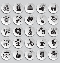 birthday party icons set on plates background for vector image